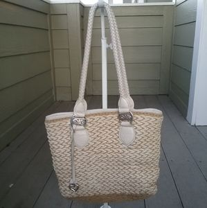 Brighton rattan bag with croc-embossed leather